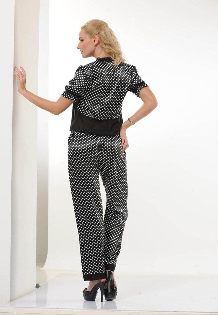 Asimod Kadın Puantiyeli Saten Pijama Takımı