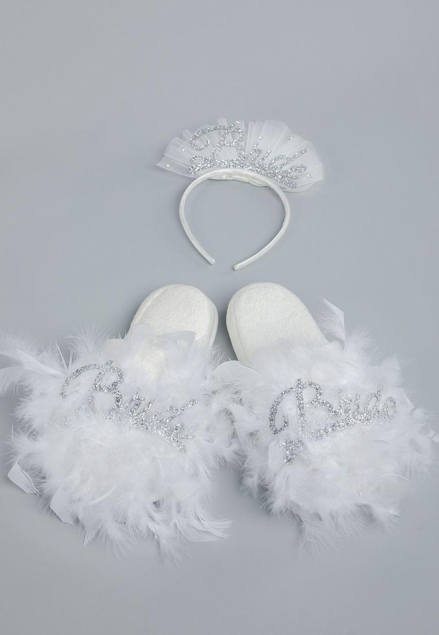 Asimod Kadın Bride Terlik Taç Set