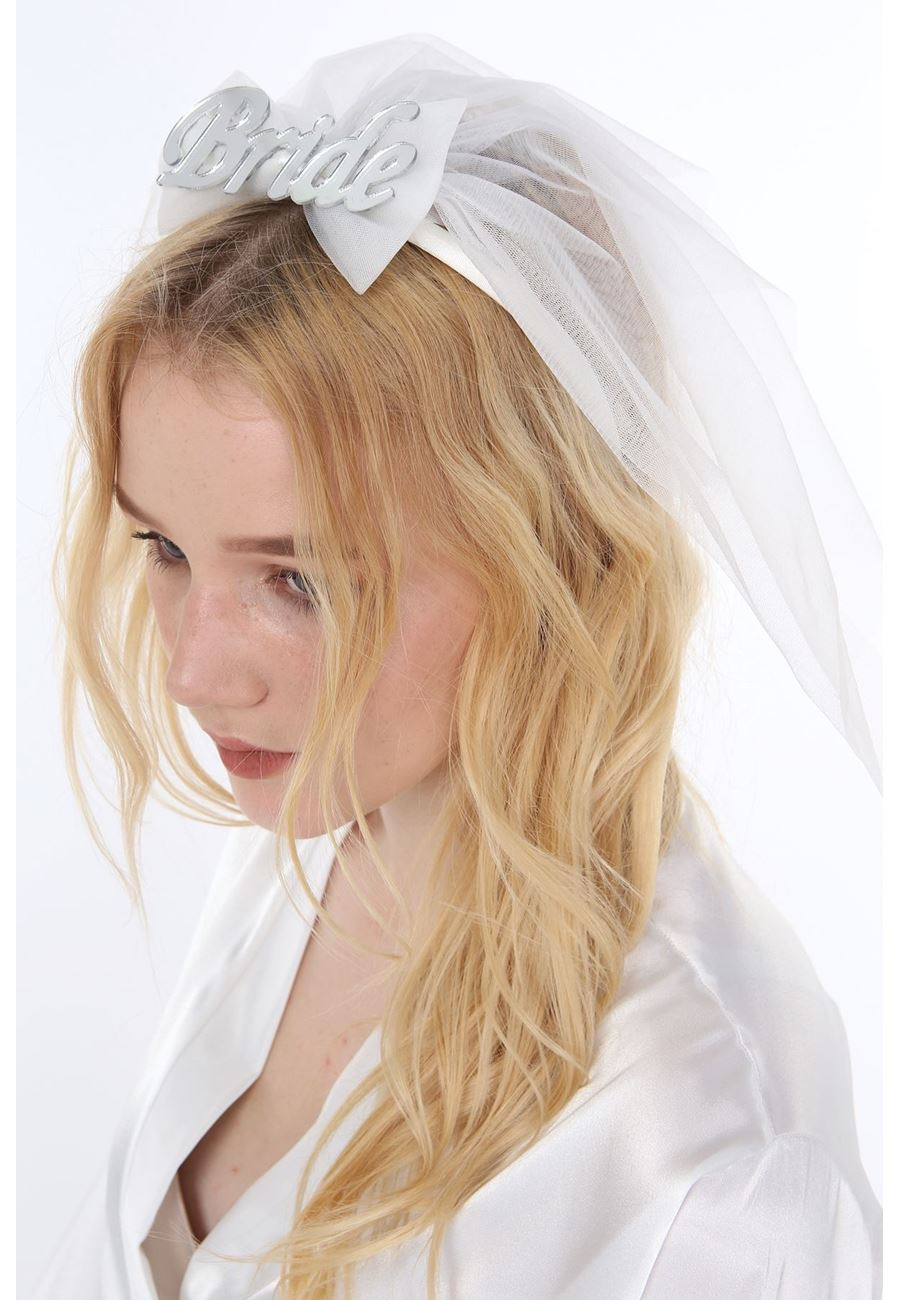 Asimod Kadın Bride Tüllü Duvaklı Taç Toka