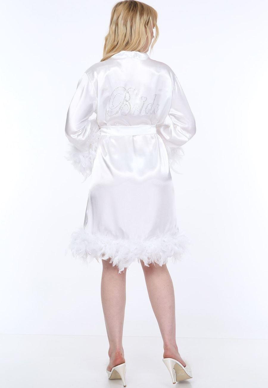 Asimod Kadın Eteği ve Kolları Tüylü Bride Sabahlık Taç Hediyeli