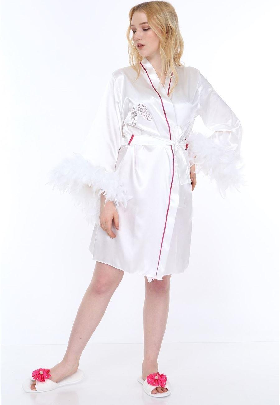 Asimod Kadın Tüylü Angel Bride Sabahlık