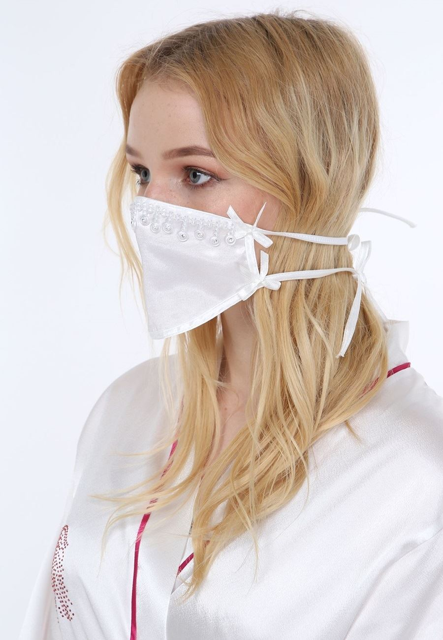 Asimod Kadın Bride Boncuklu Aksesuar Maske