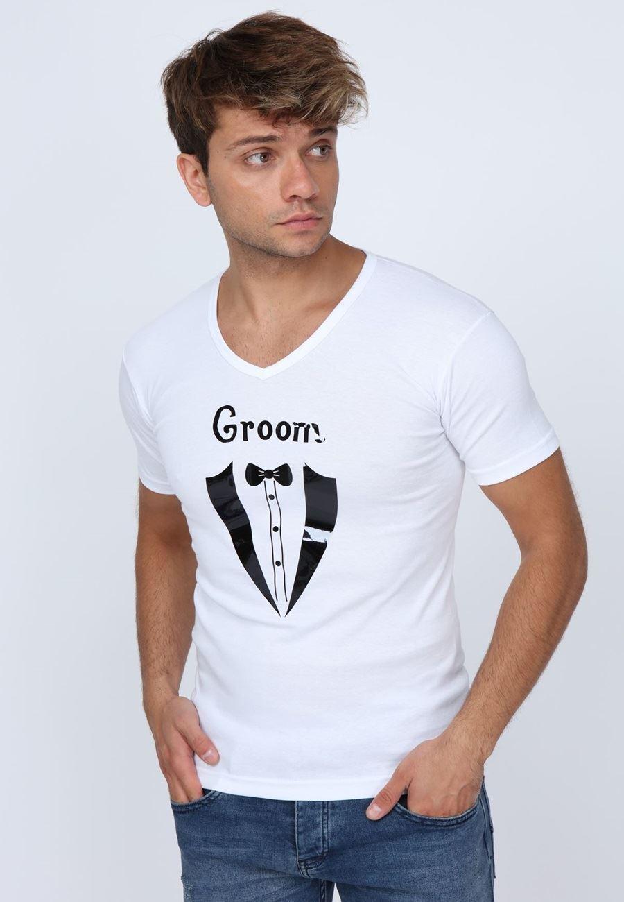 Asimod Erkek Groom Baskılı T-shirt