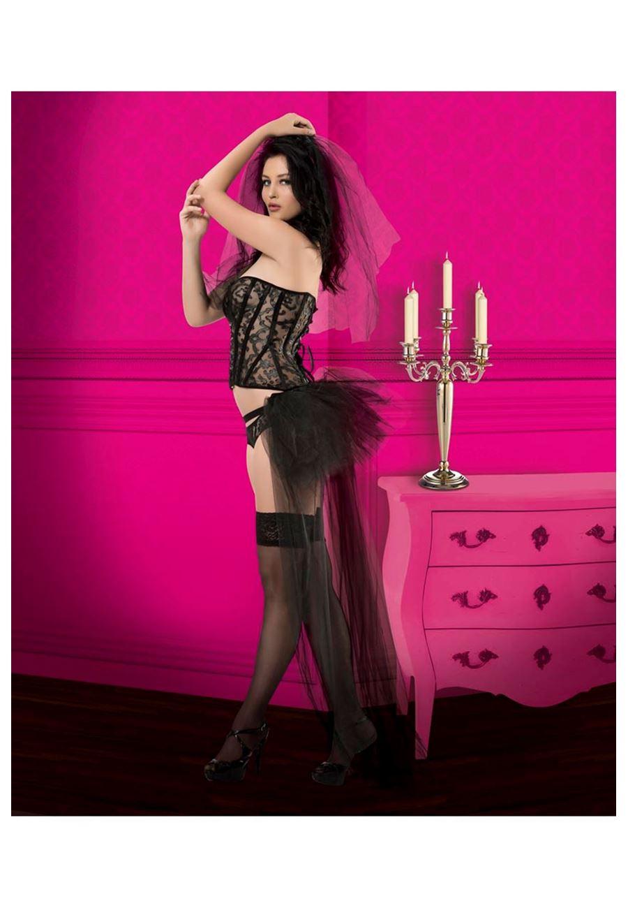 Vip Madame Kadın Siyah Büstiyer Kostüm