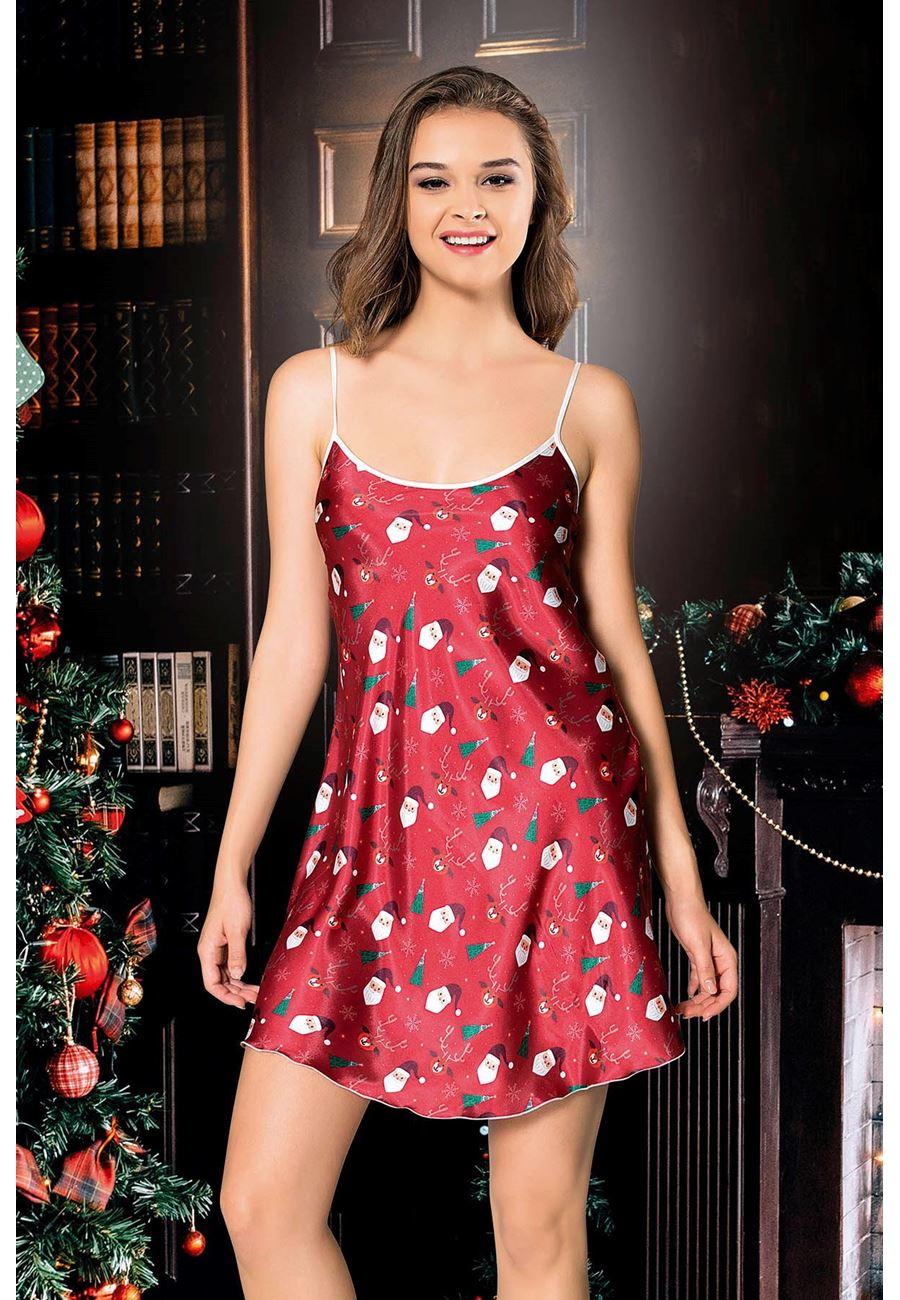 Vip Madame Kadın Noel Yıl Başı Saten Gecelik