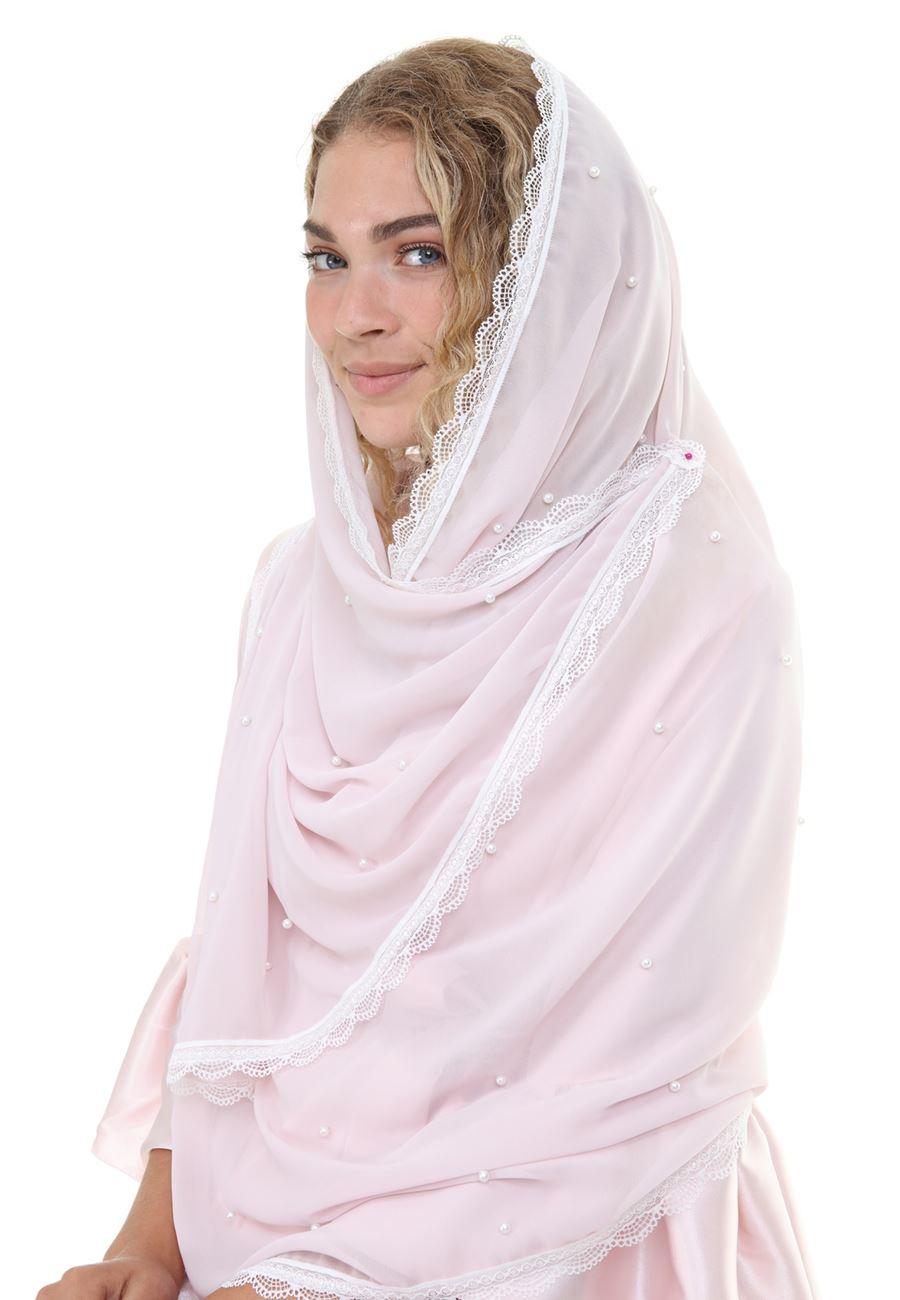 Asimod Kadın Bride İnci Detaylı Şifon Nikah ve Mevlud Şalı