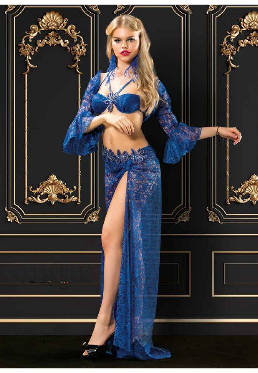 Vip Madame Kadın Şifon Fantezi Uzun Etek Sütyen Takım