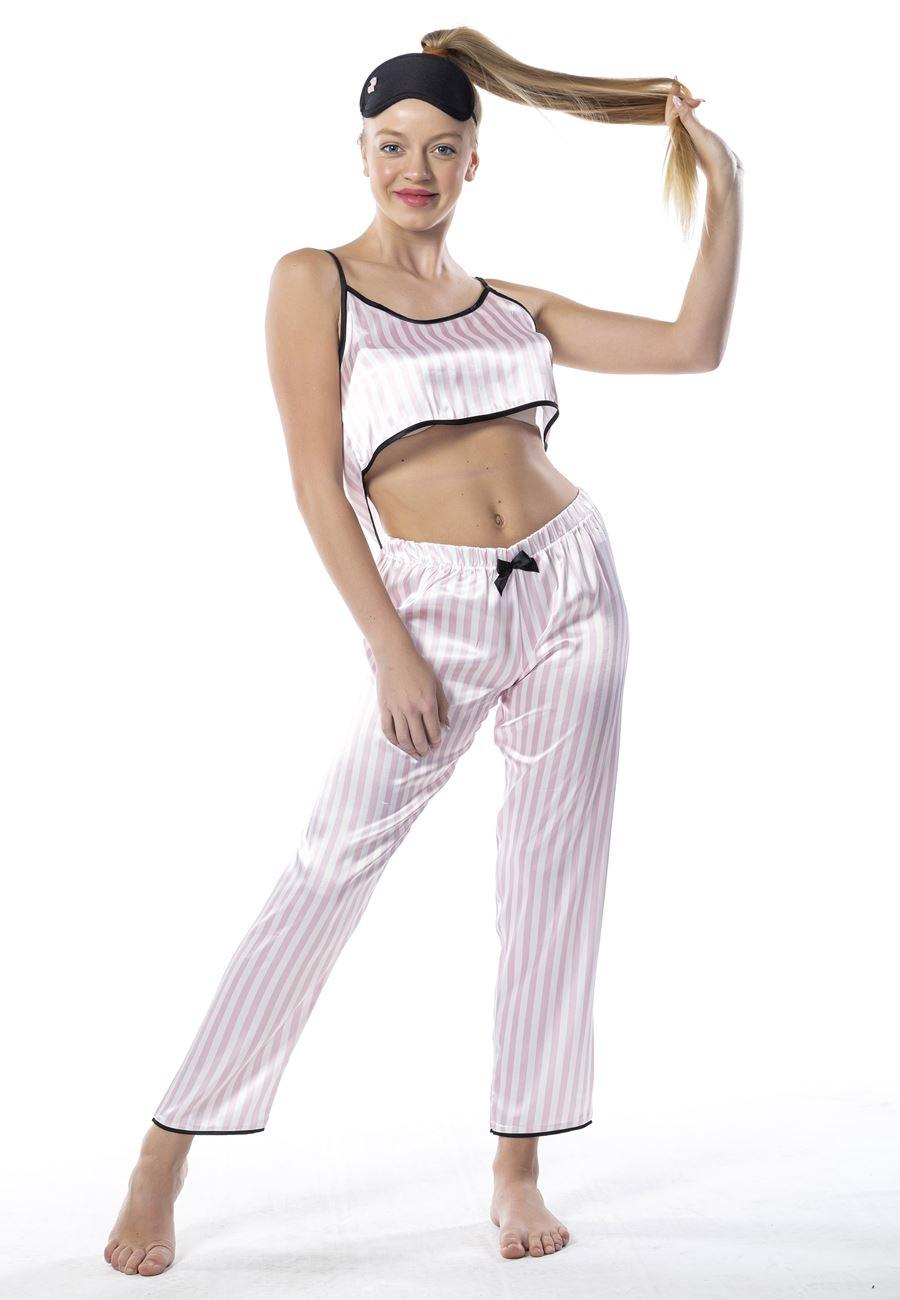 Vip Madame Kadın Uyku Gözlüklü Çizgili Saten Pijama Takım
