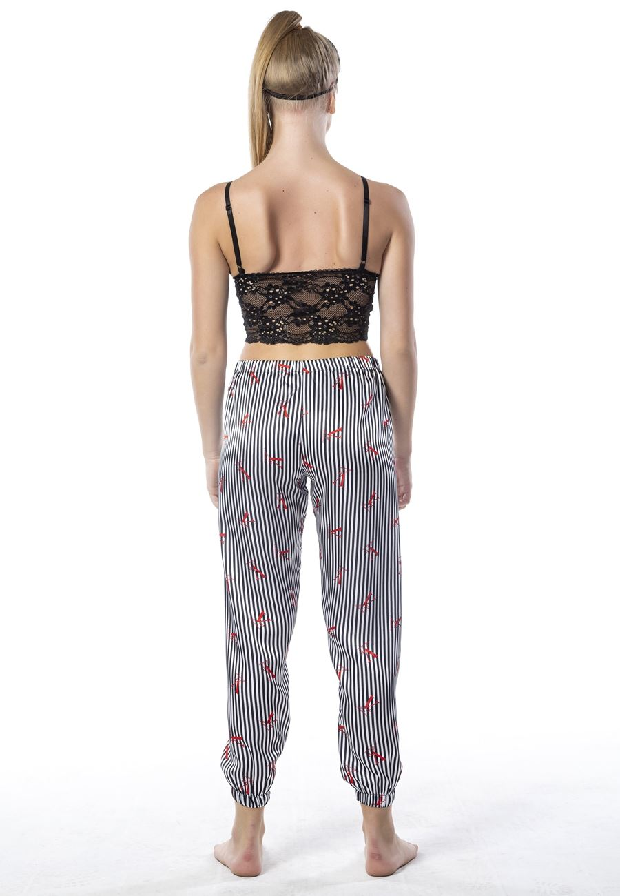 Vip Madame Kadın Uyku Gözlüklü Desteksiz Çizgili Saten Pijama Takım