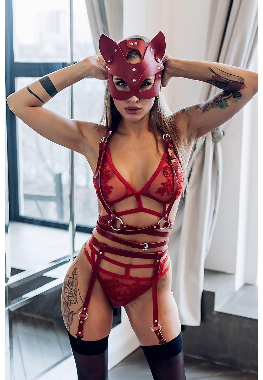 Vip Madame Kadın Fantazi Pusy Cat Maskeli Harness Jartiyer Takım