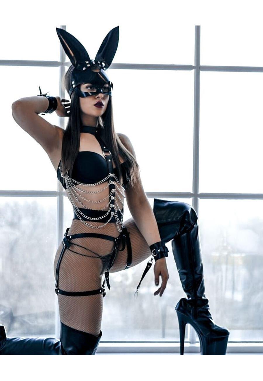 Vip Madame Kadın Fantazi Kedi Maskeli Zincir Detaylı Harness Takım