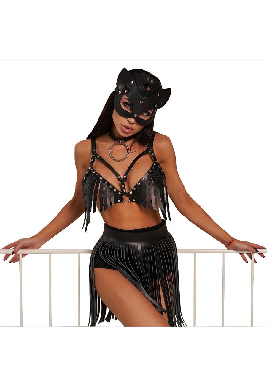 Vip Madame Kadın Deri Maskeli Saçaklı Sütyen Etek Fantezi Kostüm