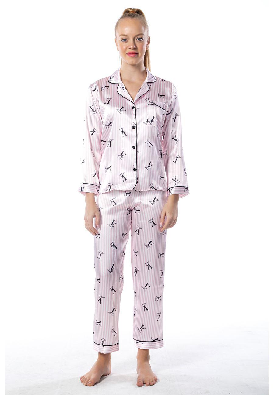 Vip Madame Kadın Fitil Biyeli Desenli Saten Pijama Takım