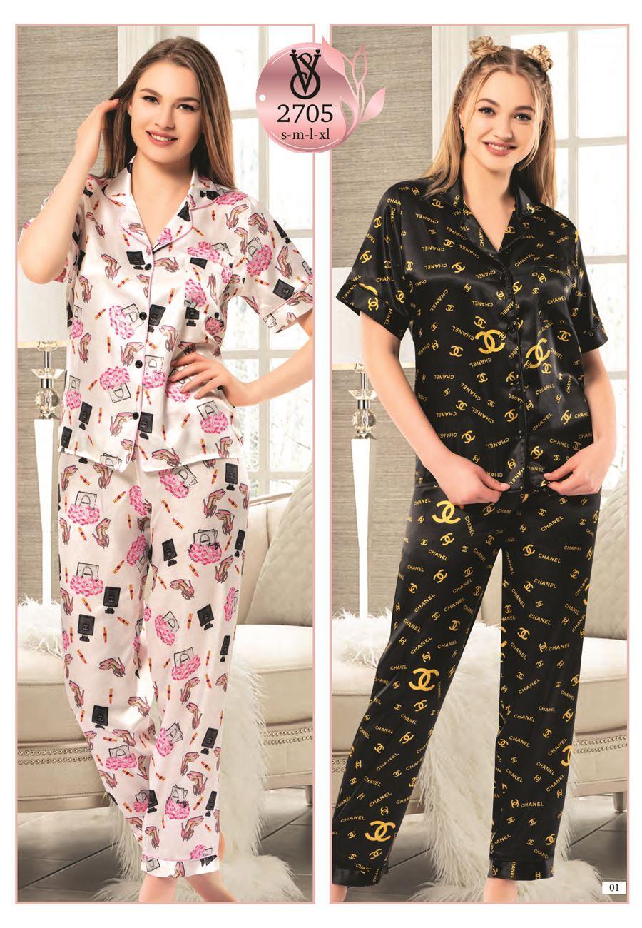 Vip Madame Kadın Desenli Kısa Kollu Pijama Takımı