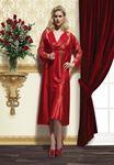 Asimod Kadın Uzun Saten Gecelik Sabahlık Takım